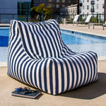 Ponce Outdoor Bean Bag in Navy Stripes - Soothing Company