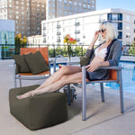 Leon Outdoor Bean Bag Ottoman in Taupe - Soothing Company