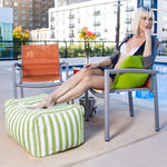 Leon Outdoor Bean Bag Ottoman in Lime Stripes - Soothing Company