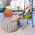Leon Outdoor Bean Bag Ottoman in Taupe Stripes - Soothing Company