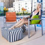Leon Outdoor Bean Bag Ottoman in Navy Stripes - Soothing Company