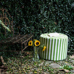 Spring Outdoor Bean Bag Pouf in Lime Stripes - Soothing Company