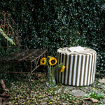 Spring Outdoor Bean Bag Pouf in Taupe Stripes - Soothing Company