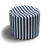 Spring Outdoor Bean Bag Pouf in Navy Stripes - Soothing Company