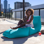 Prado Outdoor Bean Bag Chaise Lounge in Light Blue - Soothing Company