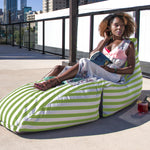 Prado Outdoor Bean Bag Chaise Lounge in Lime Stripes - Soothing Company