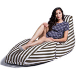 Prado Outdoor Bean Bag Chaise Lounge in Taupe Stripes - Soothing Company