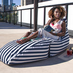 Prado Outdoor Bean Bag Chaise Lounge in Navy Stripes - Soothing Company