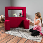 Kids Zipline Convertible Loveseat & Ottomans in Cherry - Soothing Company