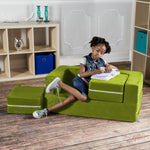 Kids Zipline Convertible Loveseat & Ottomans in Lime - Soothing Company