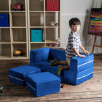 Kids Zipline Convertible Loveseat & Ottomans in Blueberry - Soothing Company