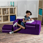Kids Zipline Convertible Loveseat & Ottomans in Grape - Soothing Company