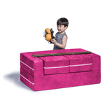 Kids Zipline Convertible Loveseat & Ottomans in Fuchsia - Soothing Company
