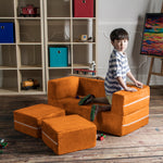 Kids Zipline Convertible Loveseat & Ottomans in Mandarin - Soothing Company