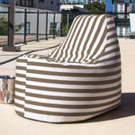 Avondale Outdoor Bean Bag Chair in Taupe Stripe - Soothing Company