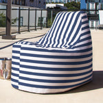 Avondale Outdoor Bean Bag Chair in Navy Stripe - Soothing Company