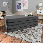 Kids Zipline Convertible Sofa & Large Ottoman in Charcoal - Soothing Company