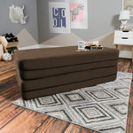 Kids Zipline Convertible Sofa & Large Ottoman in Chocolate - Soothing Company