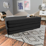 Kids Zipline Convertible Sofa & Large Ottoman in Black - Soothing Company