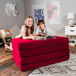 Kids Zipline Convertible Sofa & Large Ottoman in Cherry - Soothing Company