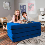 Kids Zipline Convertible Sofa & Large Ottoman in Blueberry - Soothing Company