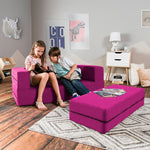 Kids Zipline Convertible Sofa & Large Ottoman in Fuchsia - Soothing Company