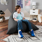 Jaxx Pivot Jr Kids Bean Bag Chair with Cotton Cover in Graphite - Soothing Company