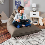 Jaxx Pivot Jr Kids Bean Bag Chair with Cotton Cover in Khaki - Soothing Company