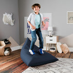 Jaxx Pivot Jr Kids Bean Bag Chair with Cotton Cover in Navy - Soothing Company