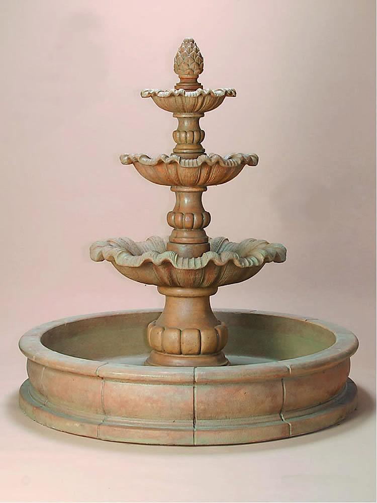Garda Three Tier Pond Outdoor Water Fountain - Soothing Company