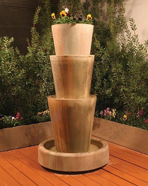 Tri Level Jug With Planter Outdoor Fountain - Soothing Walls