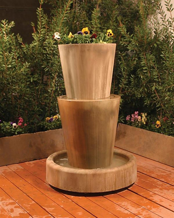 Bi Level Jug With Planter Garden Water Fountain - Soothing Walls