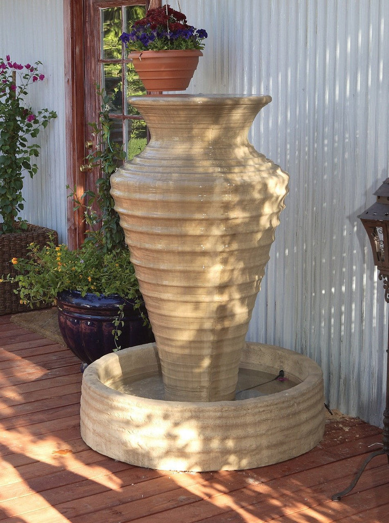 Large Olive Jar Outdoor Fountain - Soothing Walls