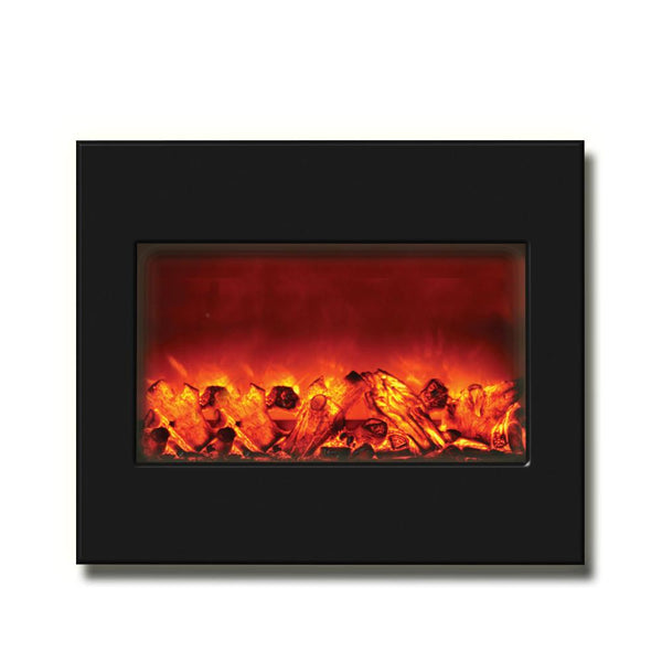 "Amantii 30"" Zero Clearance Electric Fireplace with Black Glass Surround - Soothing Company"