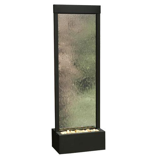 6' Gardenfall Clear Glass and Black Oxide Floor Fountain with LED Lights - Soothing Company