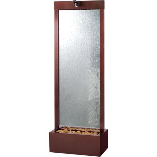 6' Gardenfall Clear Glass and Dark Copper Floor Fountain with LED Lights - Soothing Company