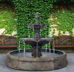 Finial Spill Outdoor Water Fountain in Crested Pool - Soothing Company