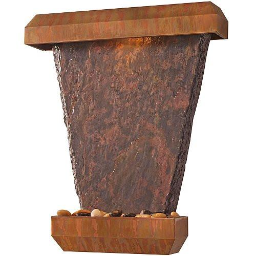 Light Hanging Slate Wall Fountain with Copper Trim - Soothing Company