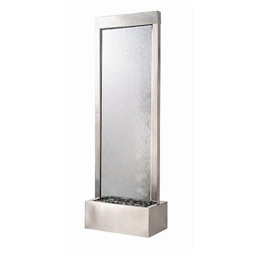 6' Gardenfall Clear Glass and Brushed Stainless Steel Frame with LED Lights - Soothing Company
