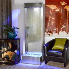6' Gardenfall Silver Mirror and Brushed Stainless Steel Floor Fountain With LED Lights - Soothing Company