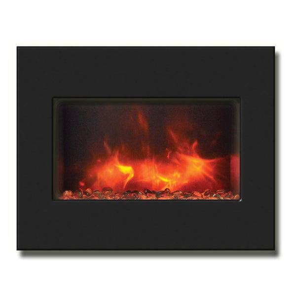 "Amantii 26"" Zero Clearance Electric Fireplace with Black Glass Surround"