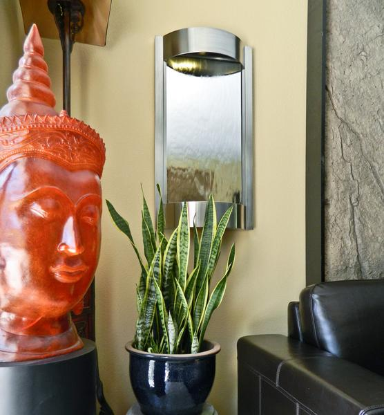Contempo Alto Stainless Steel and Silver Mirror Wall Water Fountain - Soothing Company