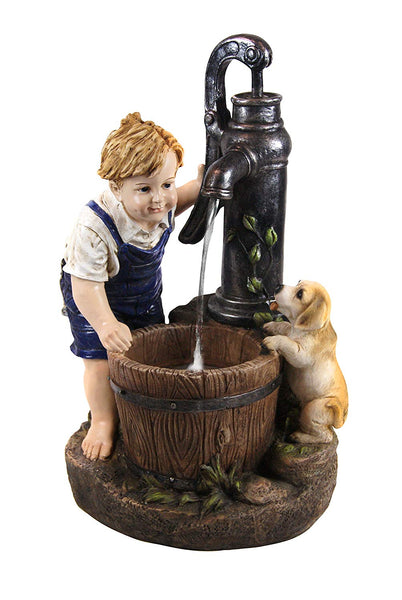 Boy and Dog with Water Pump Fountain and LED Light - Soothing Company