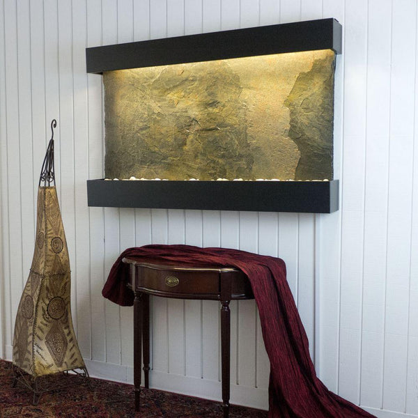 Large Horizon Falls Jeera Slate Classic Quarry Wall Fountain in Black Onyx Frame Finish - Soothing Company