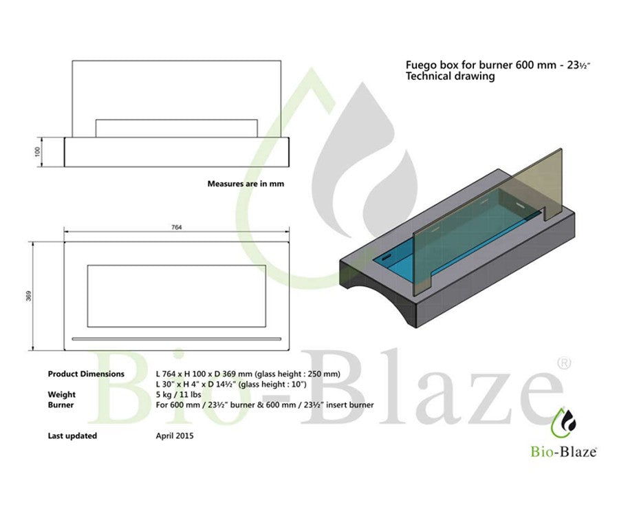 Optional Black Fuego Box for Bio Blaze Bloc 23½ Inch Biofuel Burner - Soothing Company