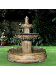 Fluted Outdoor Water Fountain in Grando Pool - Soothing Company