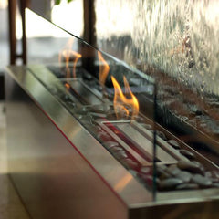 10' Grande Floor Fountain with Clear Glass, Stainless Steel and Fire Kit with 2 Ethanol Burners - Soothing Company