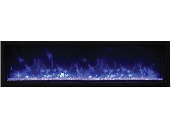 "Amantii 60"" Extra Slim Indoor or Outdoor Built-in Electric Fireplace with Black Steel Surround - Soothing Company"