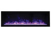 "Amantii 50"" Extra Slim Indoor or Outdoor Built-in Electric Fireplace with Black Steel Surround - Soothing Company"
