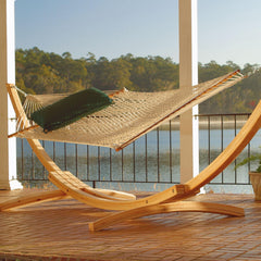 4-Ply Cypress Roman Arc 15 ft. Wood Hammock Stand - Soothing Company